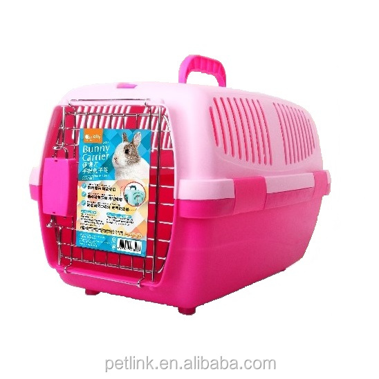 Hot Selling Pink Plastic Pet Carrying Box for Rabbit, Chinchilla