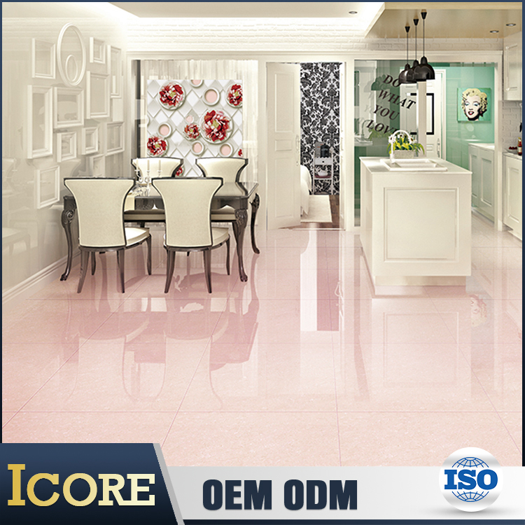 Top Class French Sublimation Polished Pink Bathroom Floor Tile