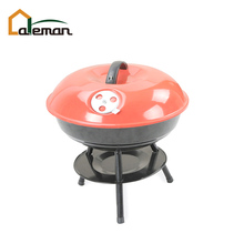 "14"" Apple Shaped Iron Charcoal Barbecue Grill, 3-legged Portable Table Top Kettle BBQ Grill w/Lid and Ash Bowl for Garden/Patio"