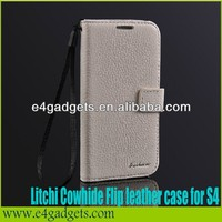 2013 best sell lichee pattern wallet style flip genuine leather mobil phone case for samsung galaxy s4 shock proof case