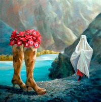 Abstract figures legs tall mountain elegant high-grade highly image handmade oil painting low prices oil painting in canvas