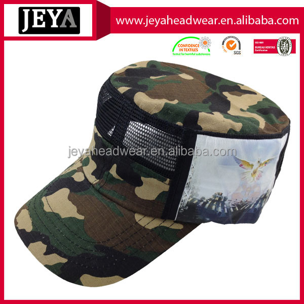 Ventilated mesh special camo army caps flat top curved bill sports hats caps