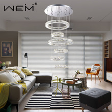 wholesale OEM & ODM indoor decor house ceiling pendant lights luxury ring modern K9 crystal chain LED chandeliers for home