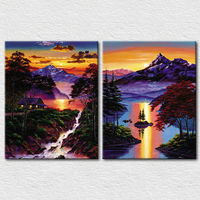 Natural sunset scenery fine art printing for office decoration