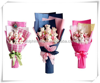Various Lovely colorful valentine wedding gift stuffed soft toy plush toy teddy bear bouquet