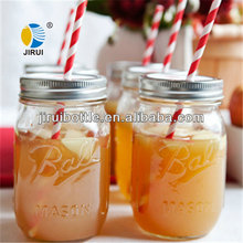 milk shake glass jar with drinking straw