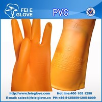 orange PVC household cleaning gloves for hand job can printed your own brand logo factory