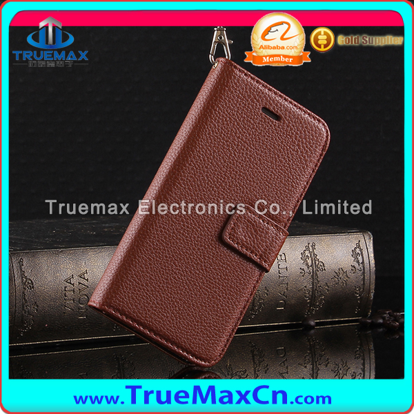 2015 New Arrival Lichi Type Wallet Flip Leather Cover Case For iPhone 6 Leather Case