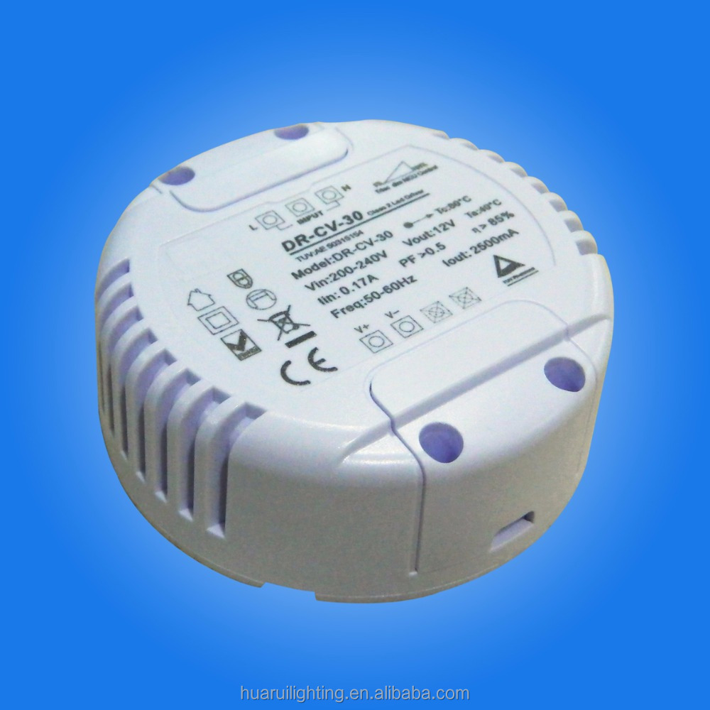 Round plastic case 30W constant current 0-10V dimmable led driver with 5 years warranty