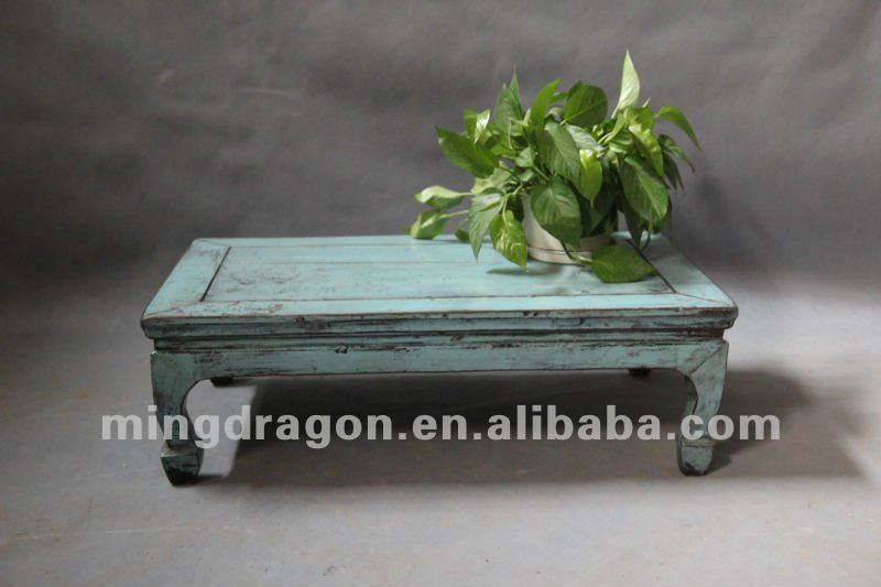 Chinese antique furniture pine wood Shanxi blue small coffee table