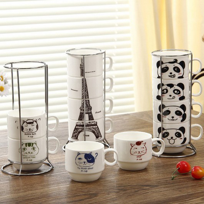 OXGIFT Promotional stacking coffee mugs gift sets with metal rack