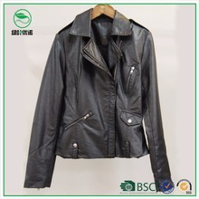 Cheap Price Fashion Sexy Ladies Faux Leather Jacket for Spring
