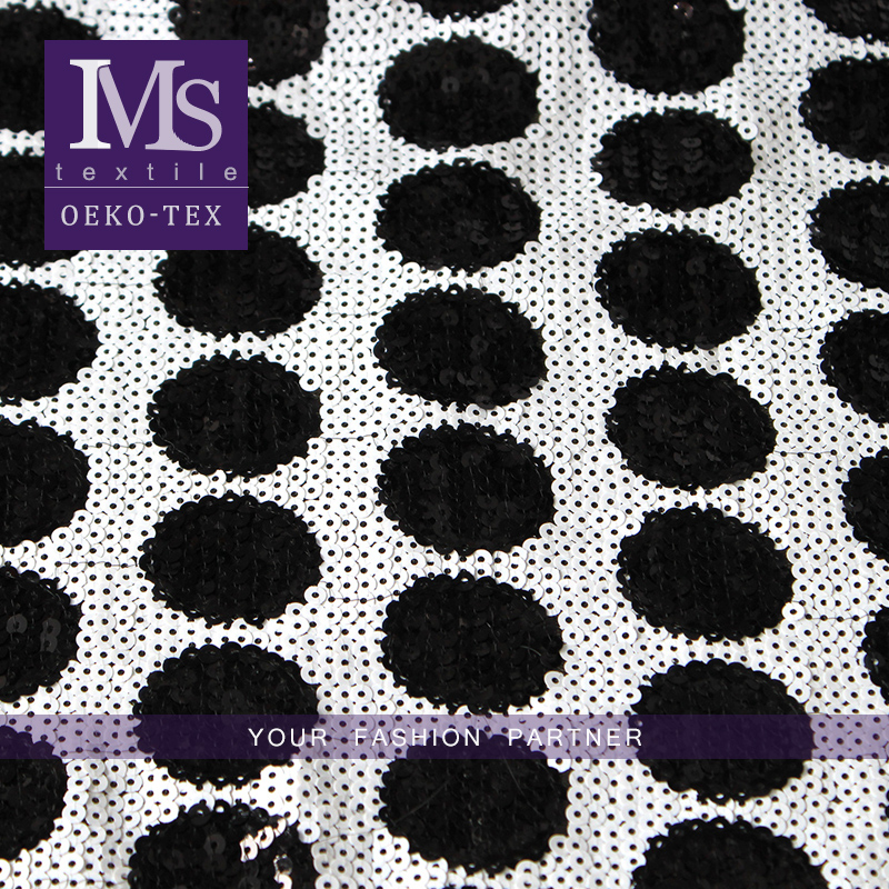 Wholesale black dots white sequin curtain fabric, Black circles sequin fabric for decoration