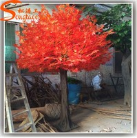 wholesale fiber glass artidicial decorative plastic tree trunk artificial red maple tree