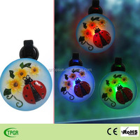 Polyresin insect flower ladybug window sucker led solar night light for indoor decora