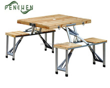 Outdoor Wood Camping Picnic Folding Table And Chairs Set