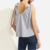 2017 clothes wholesale newest design sexy Grey Striped V Back Bow Shoulder ladies Tank Top