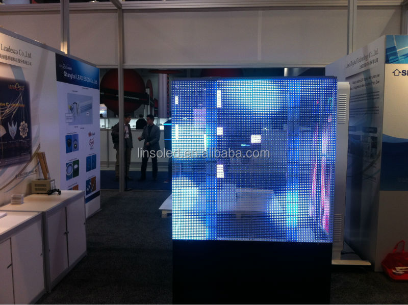 LINSO New Designed LED glass display, waterproof transparent led display