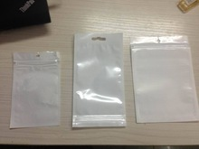 White Clear Zip Lock Hang Hole Plastic Packaging Pouches for apparel/jewelry/cellphone/accessory