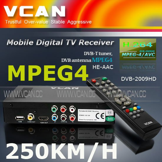 Dvb t receiver DVB-T2009HD-568 portable HD Car digital DVB-T Receiver with 250KM/Hour
