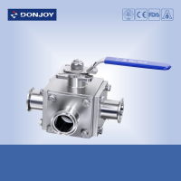 Stainless steel non retention 3 way ball valves