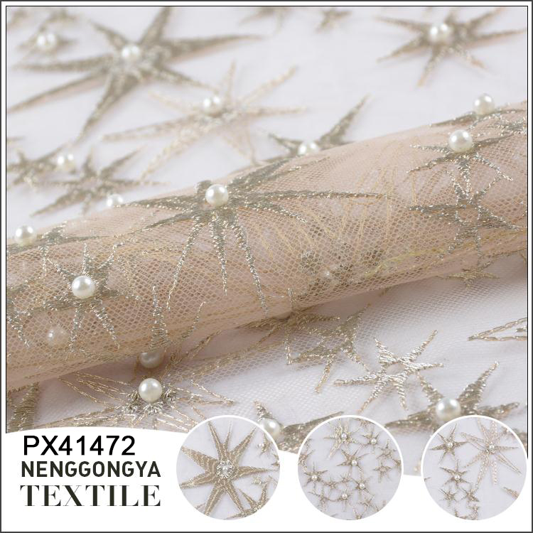 Custom design Professional polyester net tulle stone bead fabric
