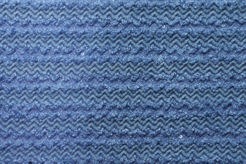 Blue 100 Polyester Sequin Chunky Thick Knit Fabric
