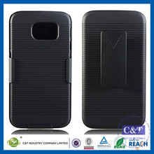 C&T Premium Black Rubberized Shell Belt Clip Holster Combo Protective Case for Samsung Galaxy S6