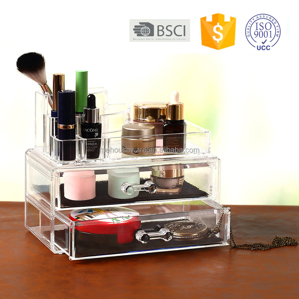 Factory Hot sale mini clear acrylic makeup organizer High clear mini plastic acrylic makeup case with two drawers