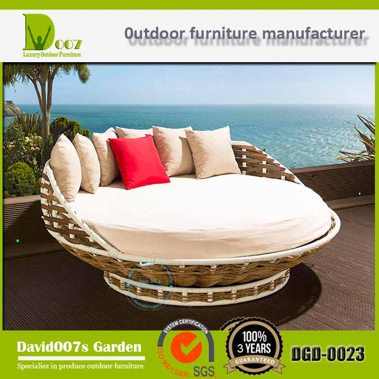 Outdoor Furniture Round Wicker Rattan Double Sofa Loungers DGD-0023