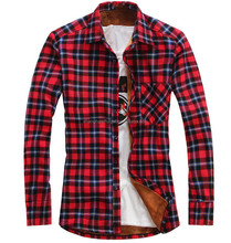 Wholesale Mens Winter cotton flannel shirts with heavy fleece inside