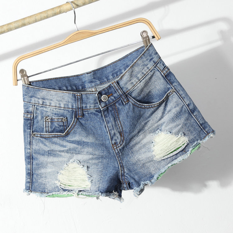 jeans factory wholesale light blue fashion new style short lady jean