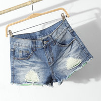 jeans supply wholesale new design fashion style light blue ripped denim jean shorts