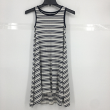 lady stock latest design sleeveless stripe casual dress