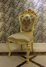 Luxury Classical European Style Gold Dining Chair, Floral Design Louis Style Gold Plated Dining Chair