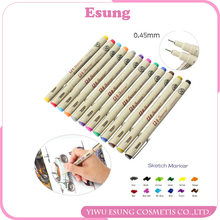 Esung 12 Colors Needle Drawing Pen 0.45mm Fineliner Animation Design Drawing Graphic Fabric Art Marker for Designers Artists