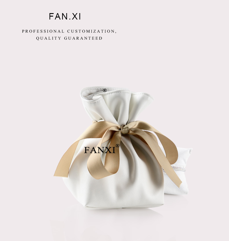 FANXI wholesale custom logo boutique collection gift bag with suede pillow for watch bracelet packaging PU leather jewelry pouch