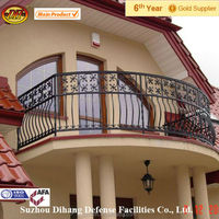 wrought iron balcony railing,galvanized steel pipe balcony railing,aluminum balcony railing