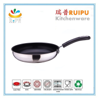 3 layers frypan with ceramic nonstick coating 26cm fry pan stainless steel serving pans/fry pan