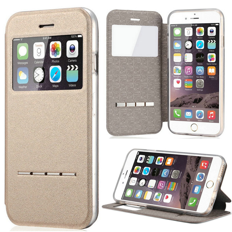 Luxury Smart View Window Leather Flip Case for Apple iphone 6 Plus Magnet Sliding Answer Phone Cover