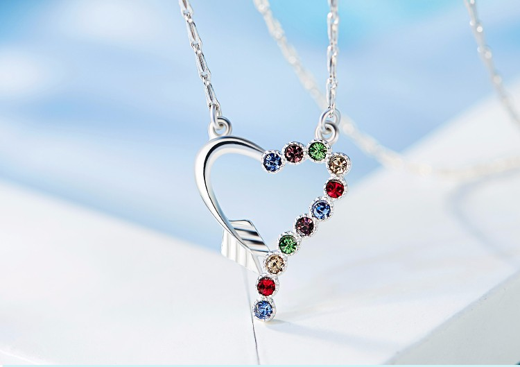 Crystals from Swarovski Fashion 925 Sterling Silver Women Heart Necklace