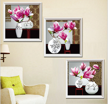 2015 wall pictures modern triptych art paintings of flowers to print 5d diy diamond paintings by numbers