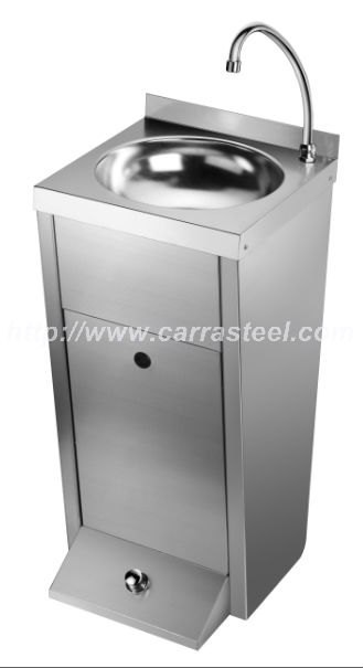 stainless steel foot operate hand washing sink unit