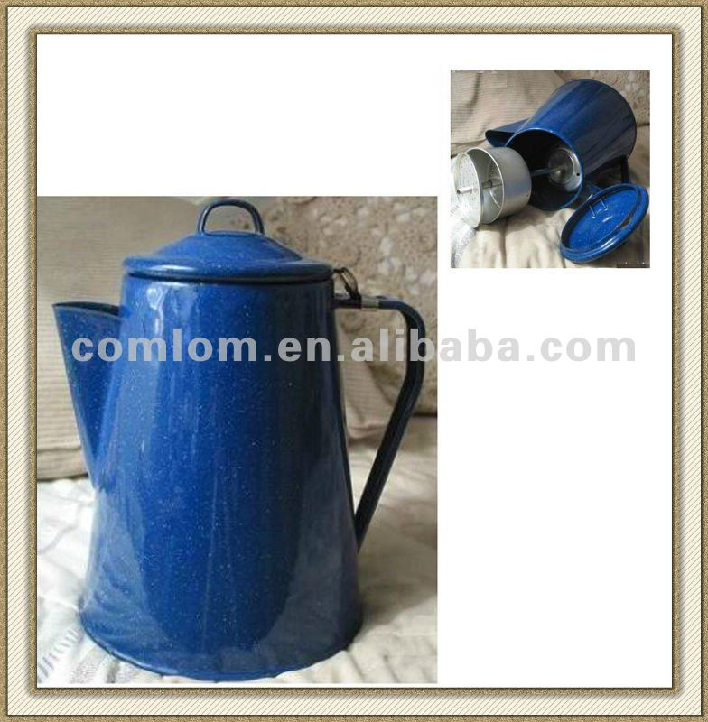 Enamel Coffee Pot with Percolator, Camping Blue Speckled Enamel Used