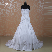 J--0022 high quality real picture embroidered sweet heart elegant simple luxury stain wedding dress