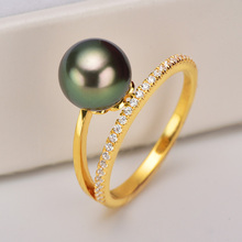 tahitian black pearl S925 wedding engagement ring