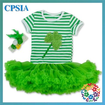 Cheap New Stylish Emerald Green Stripe Top Fluffy Chiffon Ruffle Petti Dress Shamrock Flower Girl Party Dress