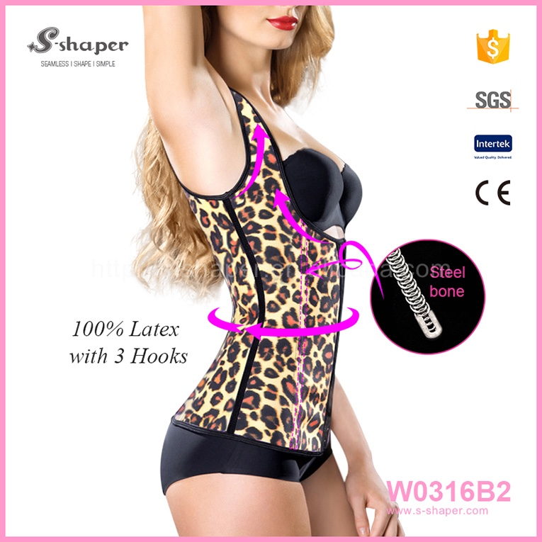 2016 Factory Outlet Sexy Women Leopard Rubber Slimming Girdle Waist Trainer Shaper W0316B2