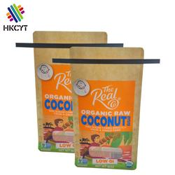 Custom printed plastic flat bottom stand up pouch packing bags for 16oz coconut sugar packaging with tintie