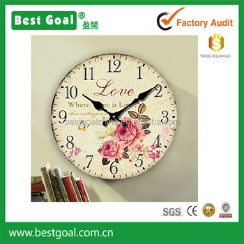 14inch floral wood clock eruner rustic country retro style wooden wall clock